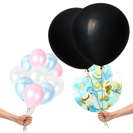 Gender Reveal Balloons Decoration Kit for Boys, Girls With Sparkly Colorful Confetti Black, Pink & Blue Latex Balloons For Baby Showers, Party Supplies, Photographs by Treasures Gifted (Blue)