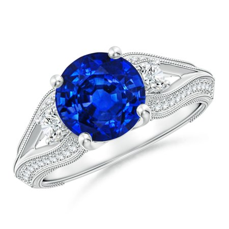 eb7a0e187 Angara - September Birthstone Ring - Vintage Inspired Round Sapphire ...