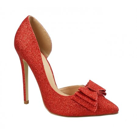Chicastic Glitter Sparkling Bow Decor High Heel Platform Pumps Bridal Party Shoes Red 6.5