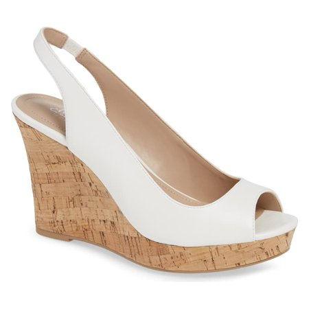 CHARLES DAVID Leandra Suede Peep Toe Low Cork Wedge Slingback Sandals (8.5, White)