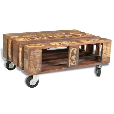 vidaXL Antique-Style Reclaimed Wood Coffee Table with 4 Wheels