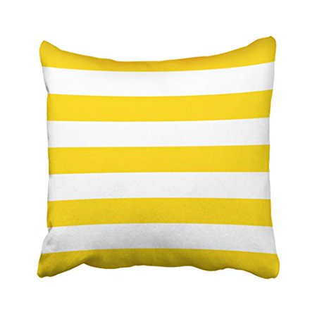 Yellow Striped Pillow - WinHome Square Throw Pillow Covers Sunshine Yellow Nautical Stripes Outdoor Pillowcases Polyester 18 X 18 Inch With Hidden Zipper Home Sofa Cushion Decorative Pillowcase