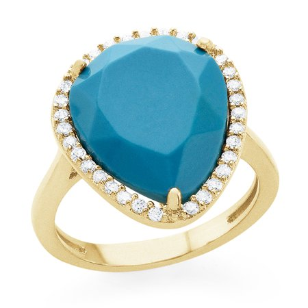 Genuine Turquoise Pear Shaped Fashion Ring