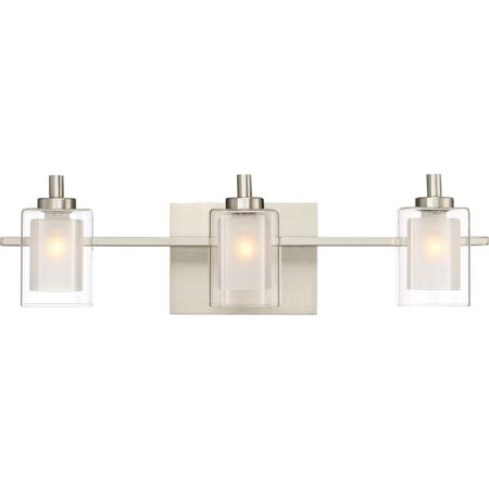 Pemberly Row 3 Light LED Vanity Light in Brushed Nickel Brushed Nickel Vanity Lights