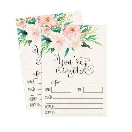 50 Floral Invitations, Pink Wedding Invites, Sweet 16, Rehearsal Dinner Invit...