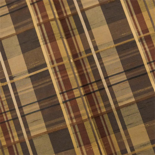 Tawny Brown Shantung Plaid Home Decorating Fabric, Fabric By the Yard