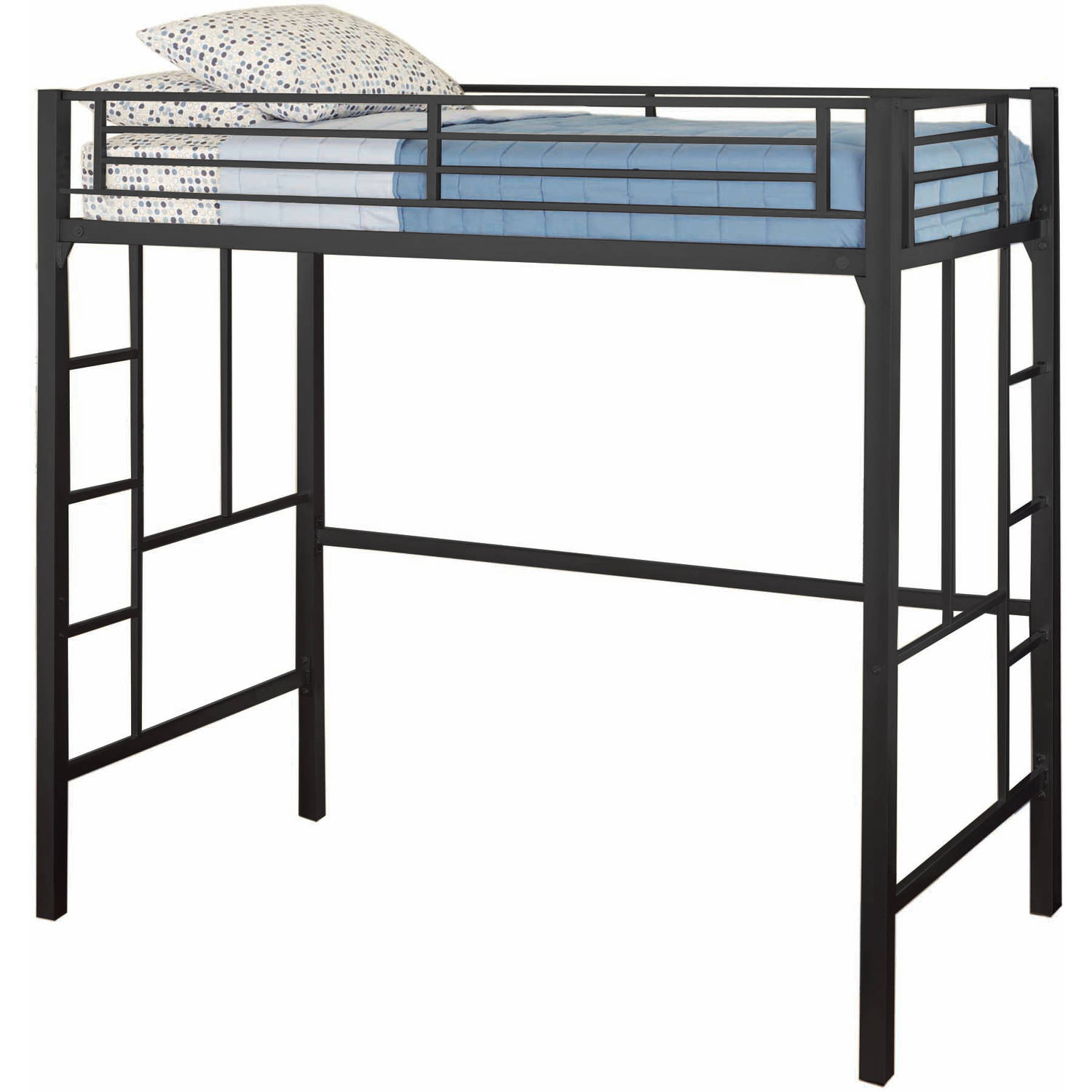 Twin Loft Bed With Ladder Metal Frame Bunkbed Kids Teens