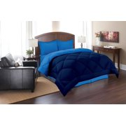 Elegant Comfort  Goose Down Alternative Reversible 3pc Comforter Set- Available In A Few Sizes And Colors , Full/Queen, Navy/Aqua