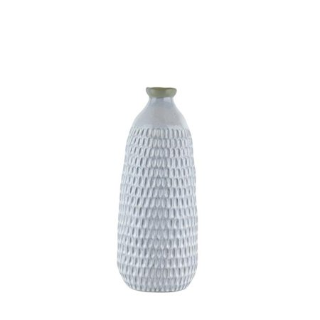 Benzara BM188065 Ceramic Vase with Engraved Scalloped Pattern - Gray - -