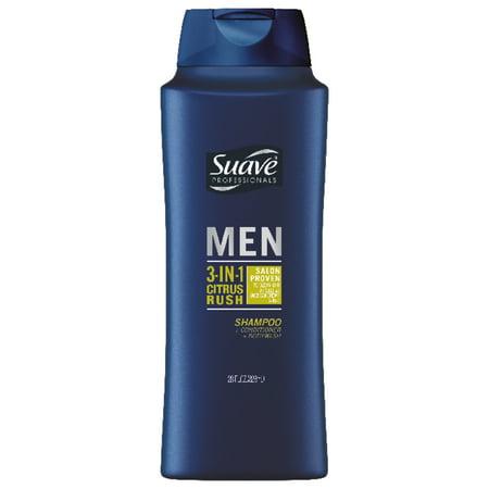 Suave Men Men Citrus Rush 3-in-1 Shampoo Conditioner Body Wash, 28 oz