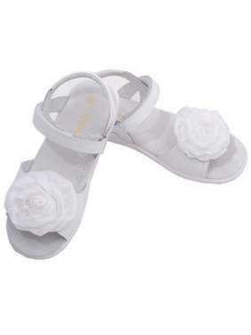 b8b0a9d3d85c Product Image L Amour Little Girls White Flower Applique Velcro Sandals  11-2 Kids. Sophias Style