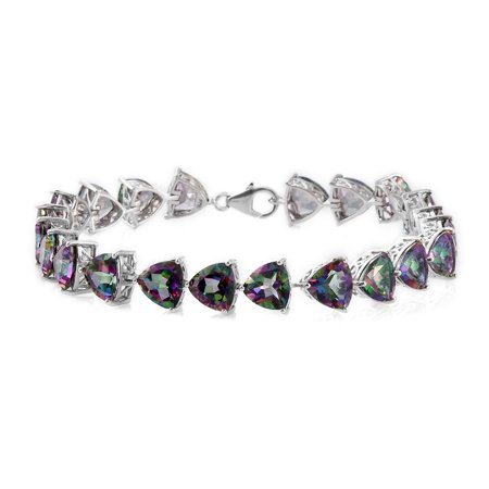 Northern Lights Mystic Topaz Platinum Plated 925 Solid Sterling Silver Bracelet For Women 37 6 Cttw
