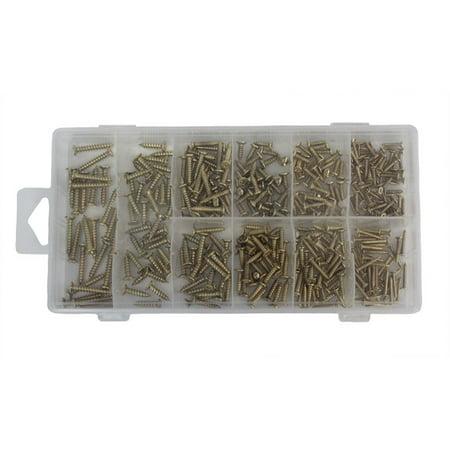 Wood Screw Assortment Kit, Flat Head Screws, Screwdriver Tool Needed, Variety of Sizes, 350 Pieces
