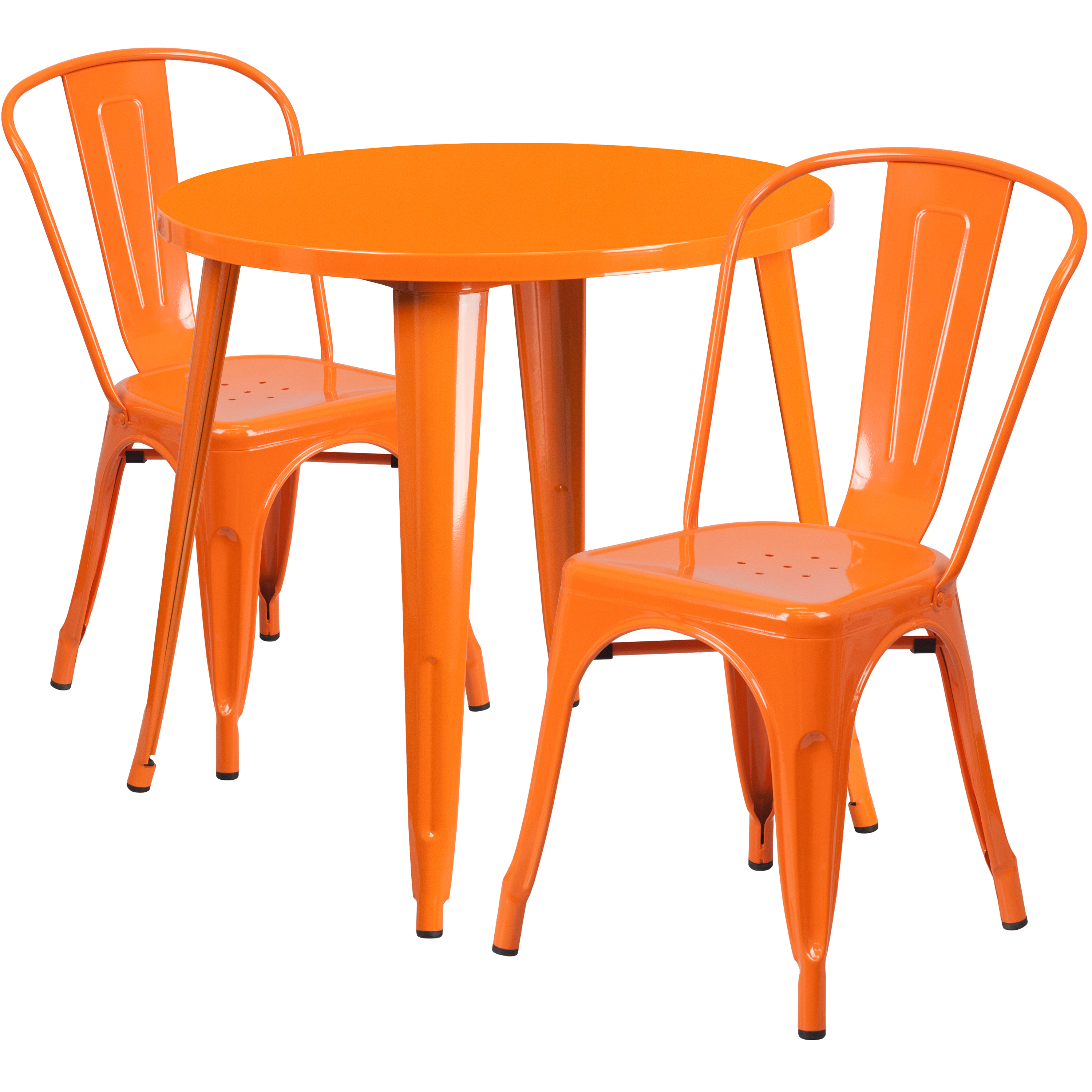 "Flash Furniture 30"" Round Metal Indoor-Outdoor Table Set with 2 Cafe Chairs, Multiple Colors"
