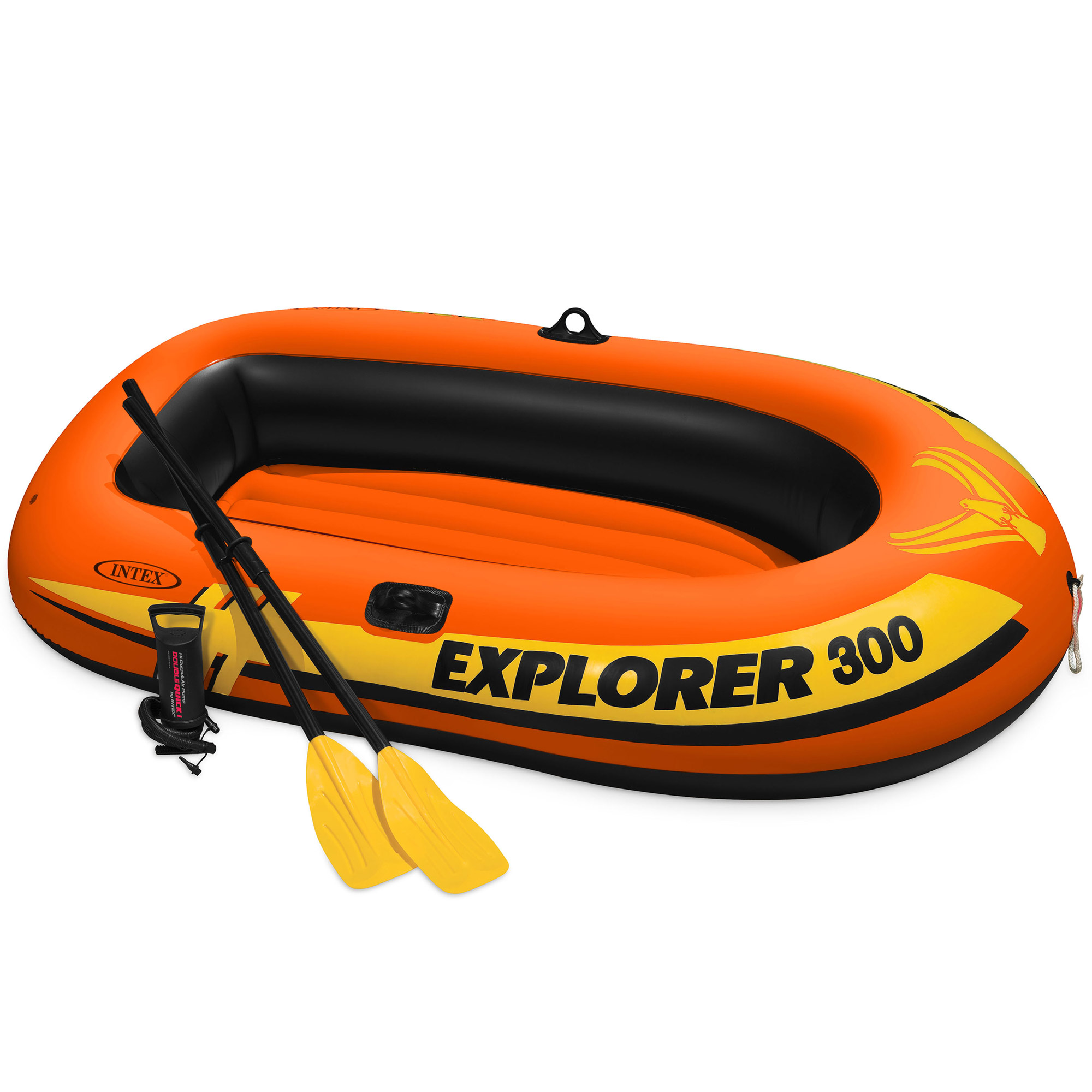 Intex Explorer 300 Compact Inflatable Fishing 3 Person Raft Boat w