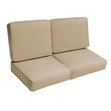 Mozaic Co Sloane Beige 47 Inch Indoor Outdoor Corded Loveseat Cushion Set
