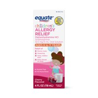 Equate Children's Allergy Relief, Diphenhydramine HCl 12.5 mg/5 mL Oral Solution, Antihistamine, Cherry Flavor, 4 fl oz