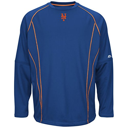 New York Mets MLB Men's Therma Base On-Field Practice Pullover Fleece Blue (XLT) by Profile
