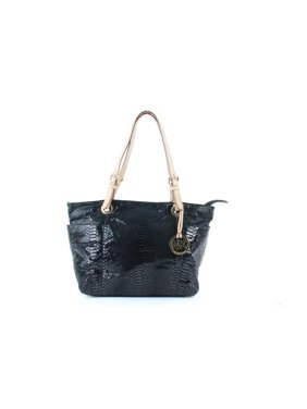 6fa75333779c Product Image Embossed Pythong Jet Set 13mk0108 Black Patent Leather Tote. Michael  Kors