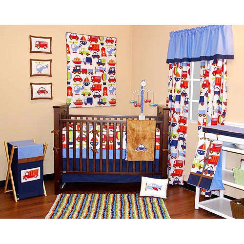 Bacati - Transportation Red/Blue/Orange/Green Multicolor Boys 10pc Nursery-in-a-Bag Crib Bedding Set with Bumper Pad for US standard Cribs