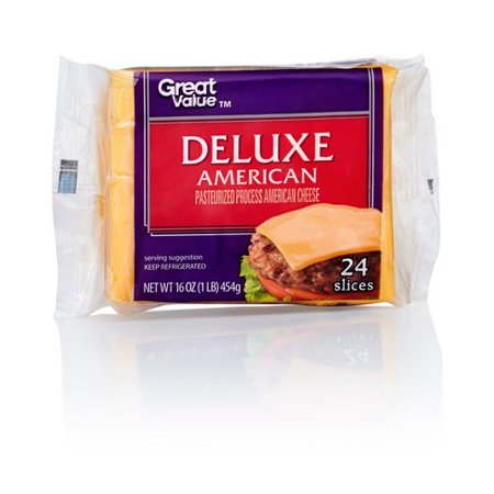 Great Value Deluxe American Cheese Singles, 16 oz, 24 ...