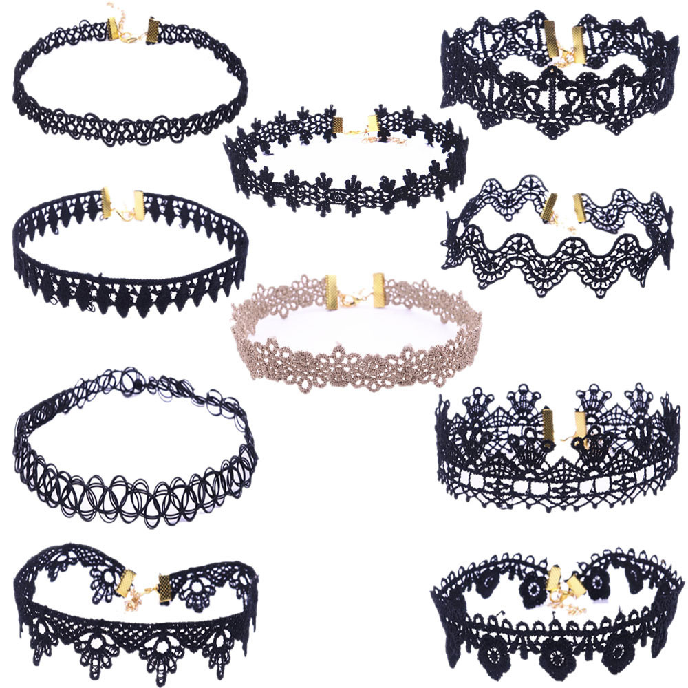10PCS Choker Necklace Set Stretch Velvet Classic Gothic Tattoo Lace Choker