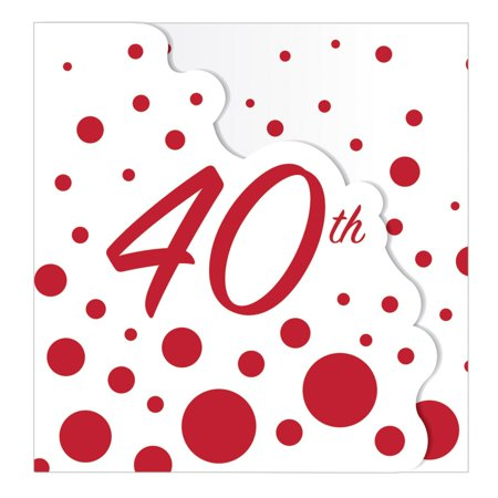 "Club Pack of 48 Red and White 40th Anniversary or Birthday Party Invitations 4.5"" (40th Anniversary Invitations)"