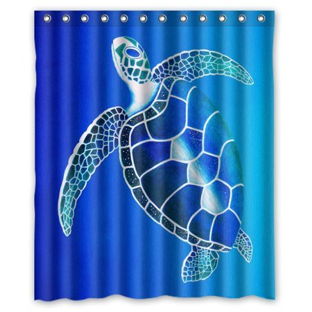 HelloDecor Sea Turtle Shower Curtain Polyester Fabric Bathroom Decorative Size 60x72 Inches