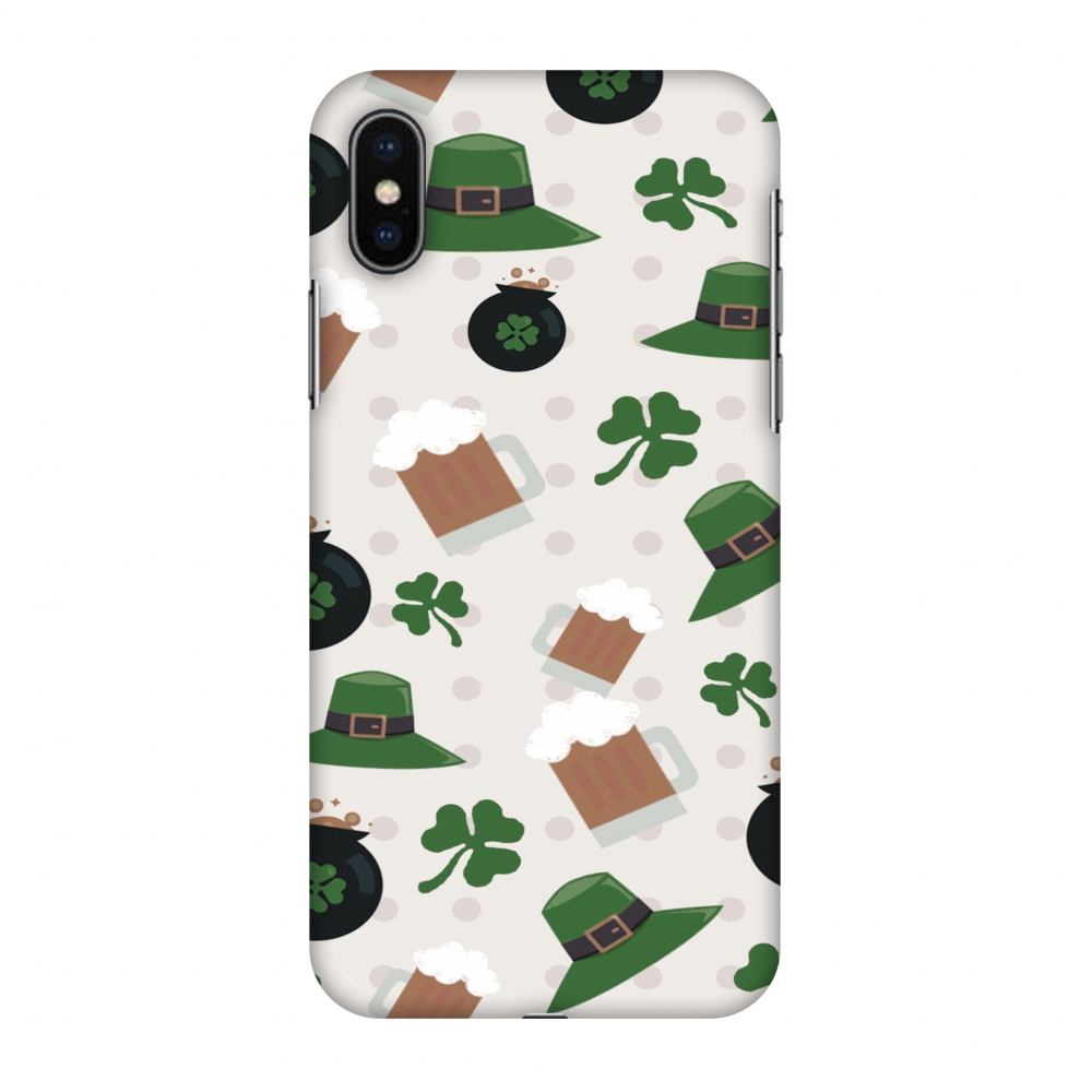 iPhone X Case, Premium Handcrafted Designer Hard Shell Snap On Case Printed Back Cover with Screen Cleaning Kit for iPhone X, Slim, Protective - Shamrock, hats, beer and potluck -