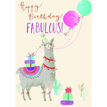 Balloons With Designs (Ling Design Fabulous Llama with Presents and Balloons Birthday Card for Her /)