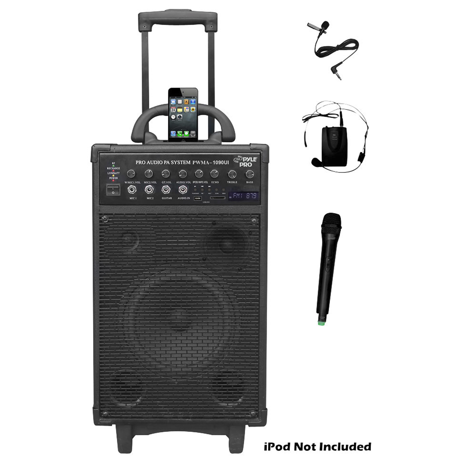 Pyle 800 Watt Dual Channel Portable PA System with  IOS Compatible Dock and More