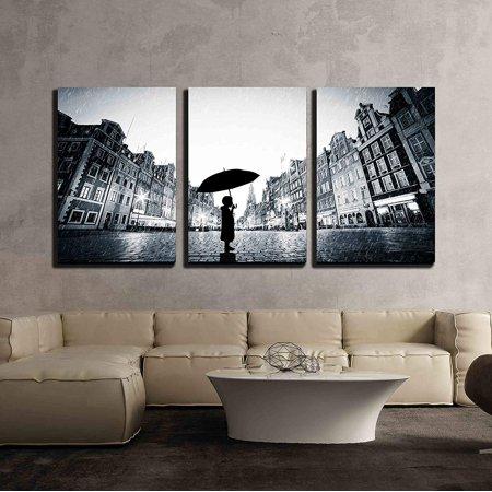 3 Light Cobblestone Wall (wall26 - 3 Piece Canvas Wall Art - Child with Umbrella Standing Alone on Cobblestone Old Town in Rain - Modern Home Decor Stretched and Framed Ready to Hang - 16