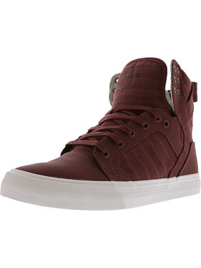 95443532387 Product Image Supra Men's Skytop Burgundy / White High-Top Canvas Fashion  Sneaker - 8M
