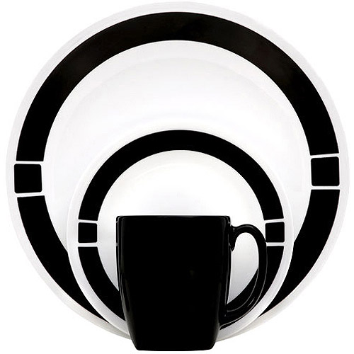 Corelle Livingware Urban 16-Piece Dinnerware Set Black  sc 1 st  Walmart.com : white and black dinnerware - pezcame.com