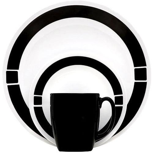 Corelle Livingware Urban 16-Piece Dinnerware Set, Black