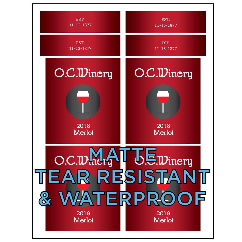 Milcoast Matte Waterproof Tear Resistant White Blank Adhesive DIY Wine Bottle Labels 25 Sheets 100 Label Sets for Laser//Inkjet Printers