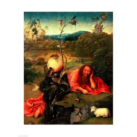 St John the Baptist in Meditation Canvas Art - Hieronymus Bosch (18...