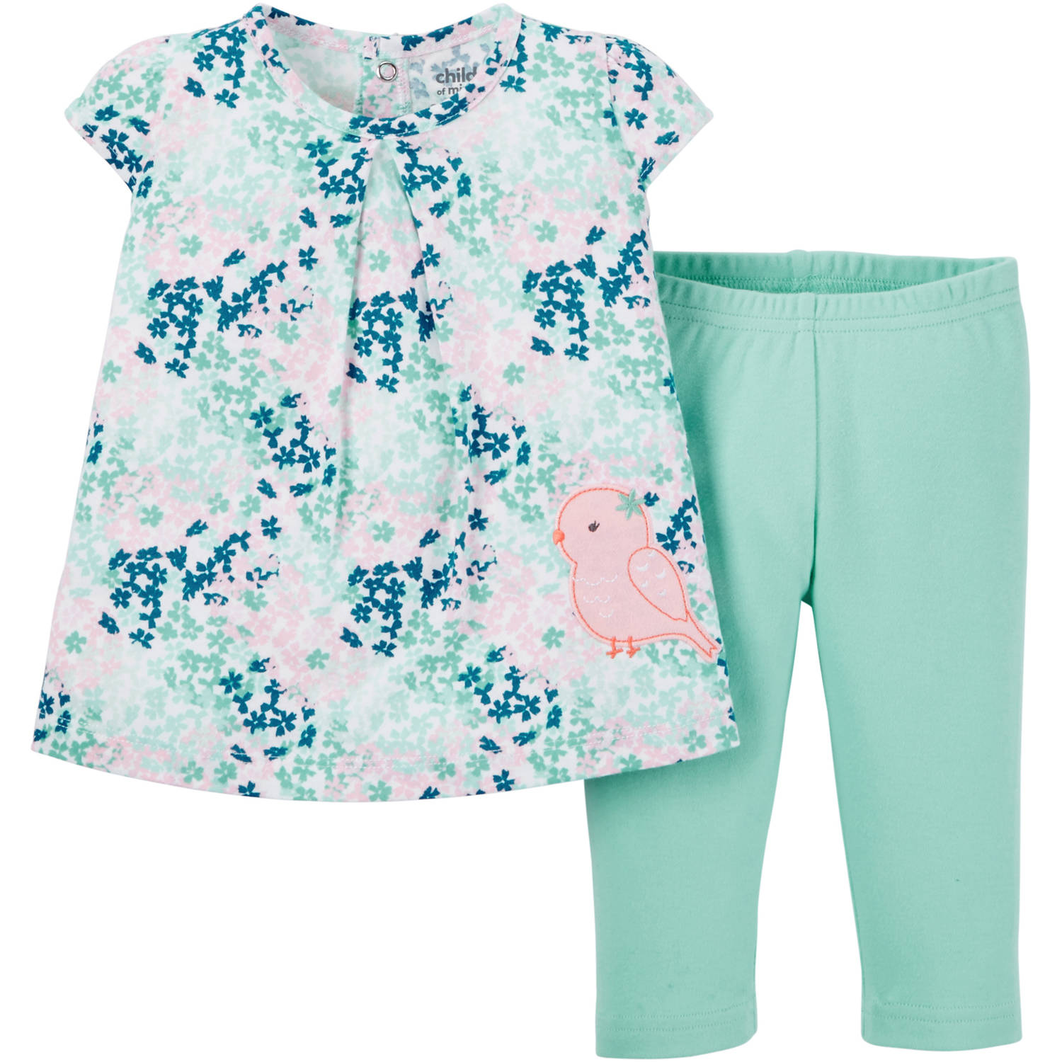 Child of Mine made by Carter's Newborn Baby Girls' Top and Pant Outfit Set 2 Pieces