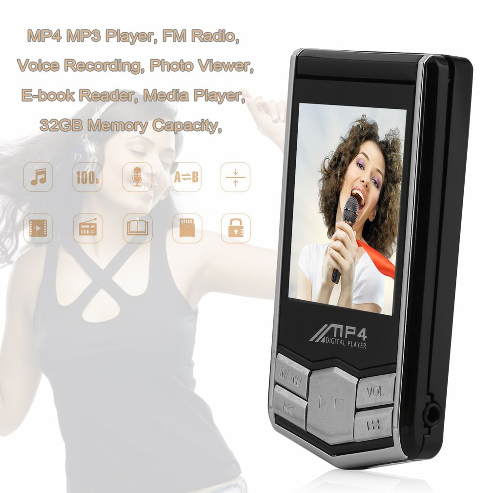 32GB HD 1.8inch LCD Screen Portable MP4 MP3 Video Music Player FM Radio Record