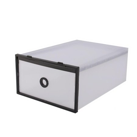 Filfeel 5Pcs Storage Boxes Set Foldable Shoe Box Organizer, Shoe Storage Bag Box Double Plastic Black