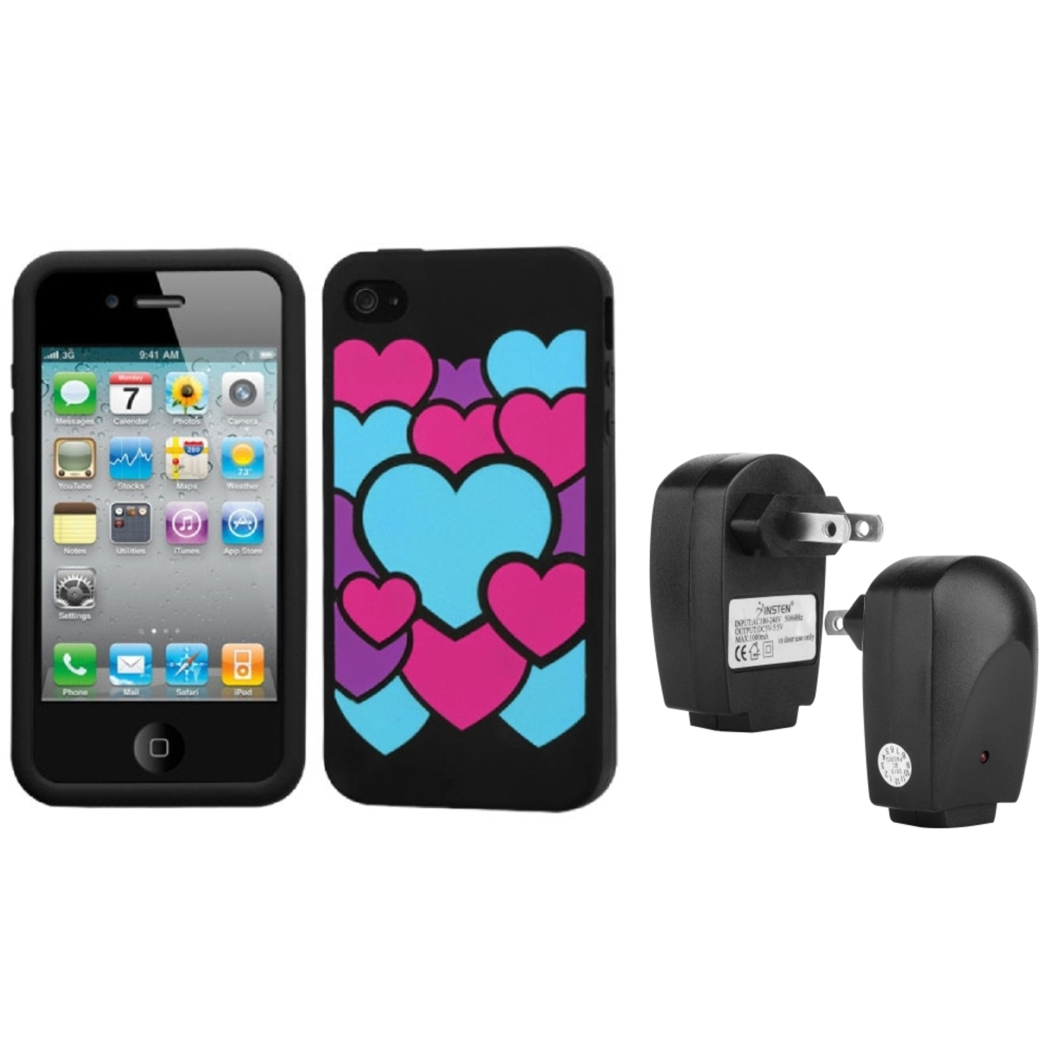 Insten Colorful Love/Black Pastel Case Cover For iPhone 4 4S + USB Travel Charger