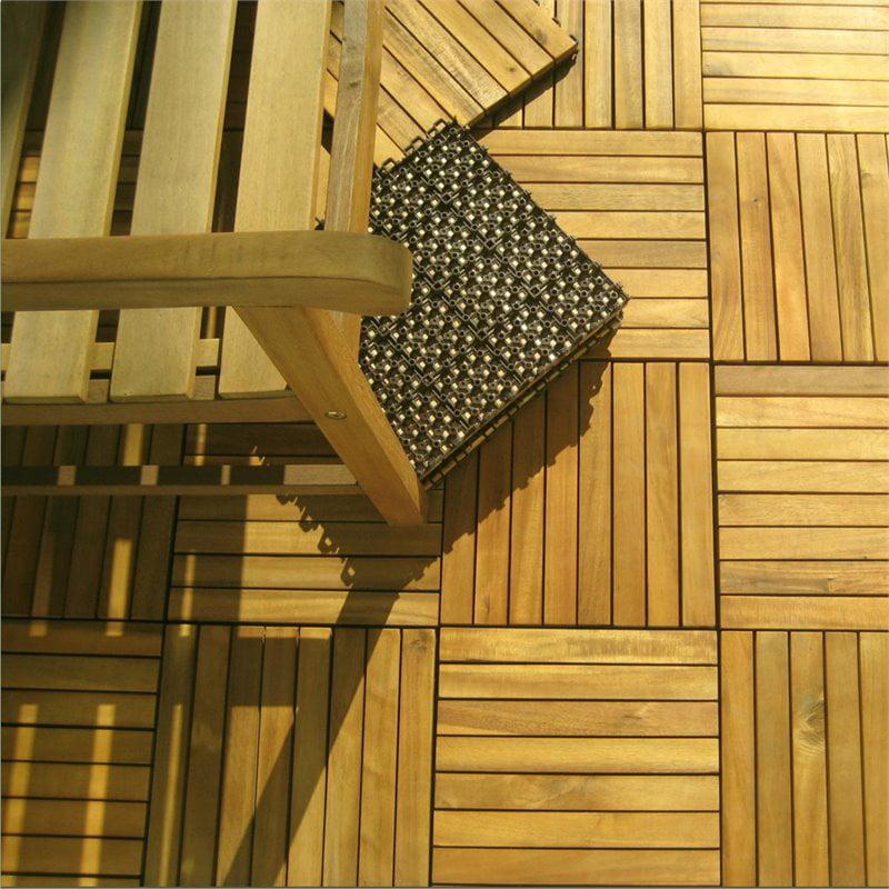 Outdoor Patio 8-Slat Acacia Interlocking Deck Tile (Set of 10 Tiles)  - V355 - image 3 of 4