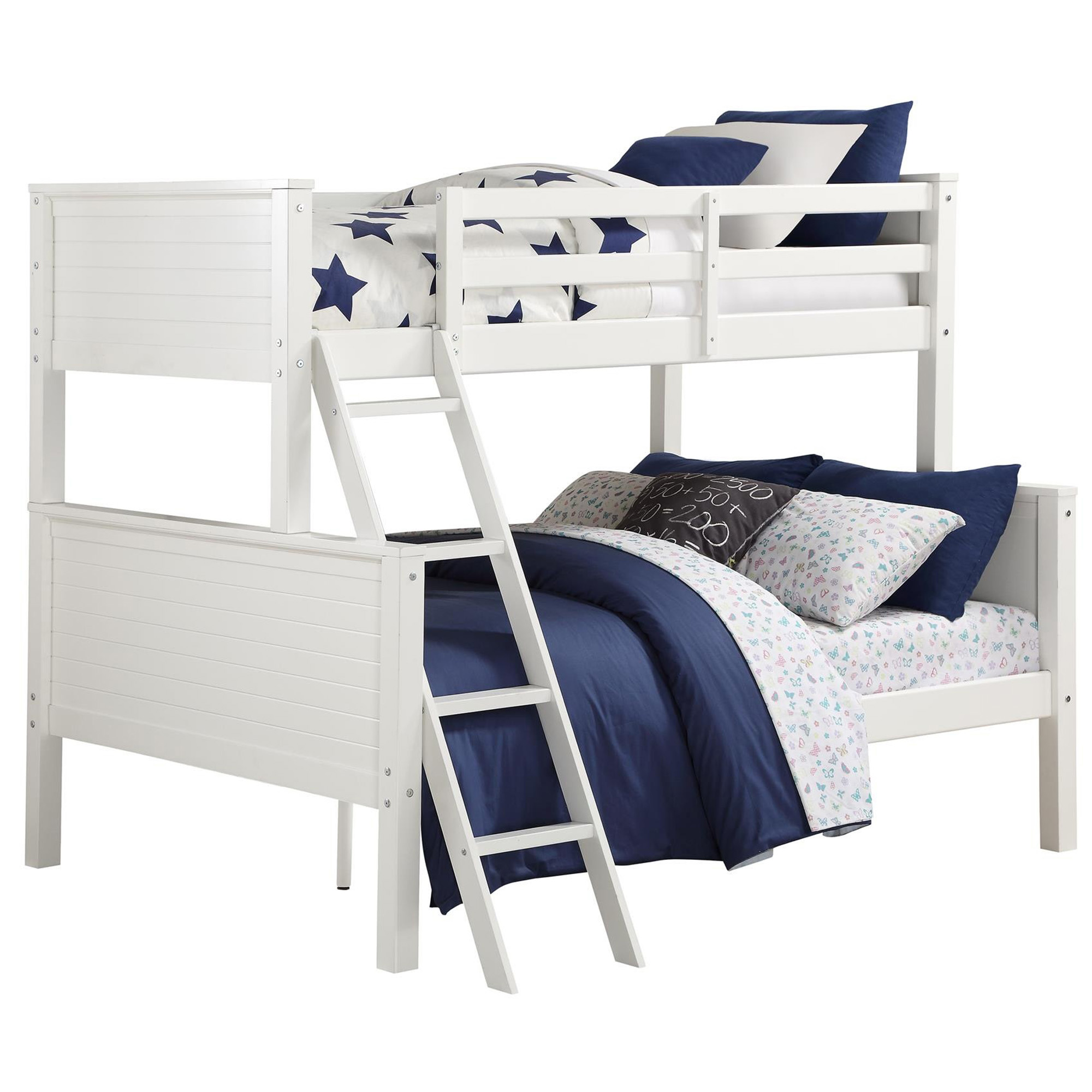 Picture of: Your Zone Wooden Convertible Twin Over Full Bunk Bed White Walmart Com Walmart Com