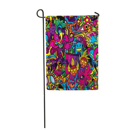 LADDKE Green Trippy 60S Hippie Crazy Drug Cat Demon Abstract Acid Bad Garden Flag Decorative Flag House Banner 28x40 inch