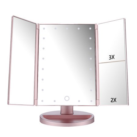 Lighted vanity mirror magnifiers tri fold three panel 21led light lighted vanity mirror magnifiers tri fold three panel 21led light 180 degree free rotation countertop aloadofball Gallery