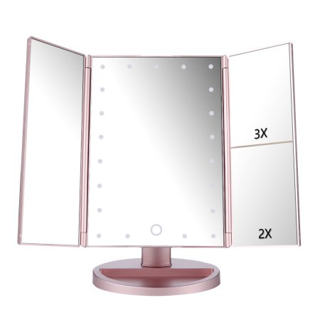 Lighted Vanity Mirror Magnifiers Tri Fold Three Panel 21Led Light 180  Degree Free Rotation Countertop
