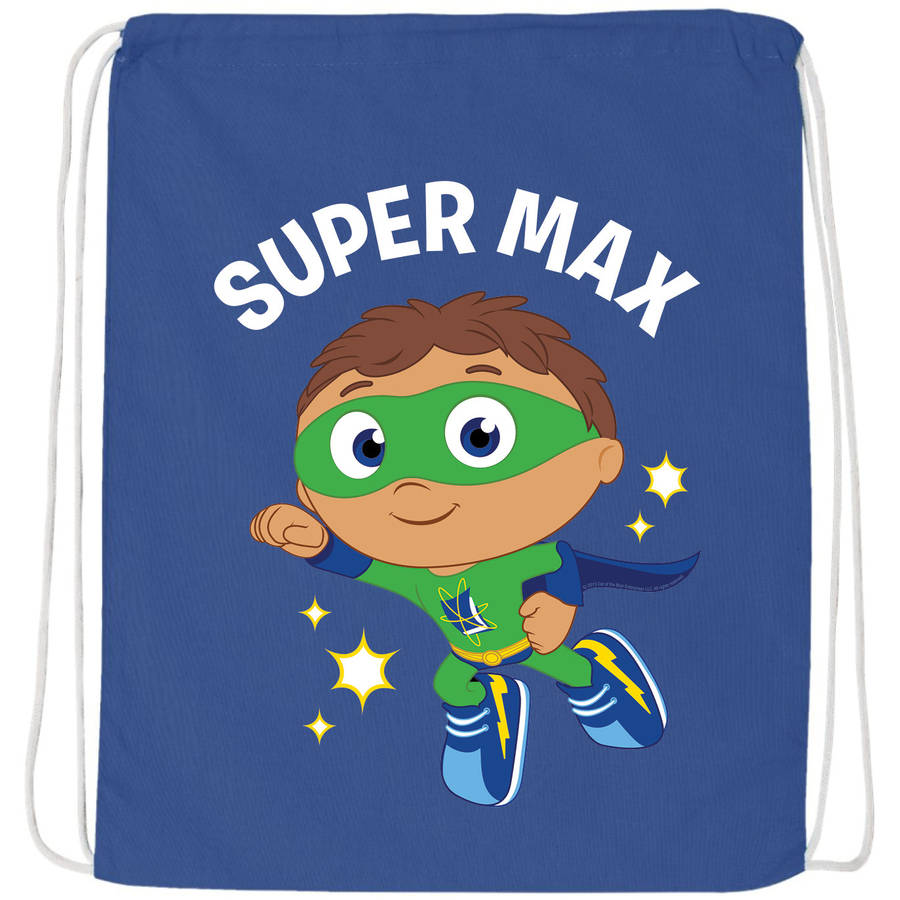 Personalized Super Why To The Rescue Blue Drawstring Bag