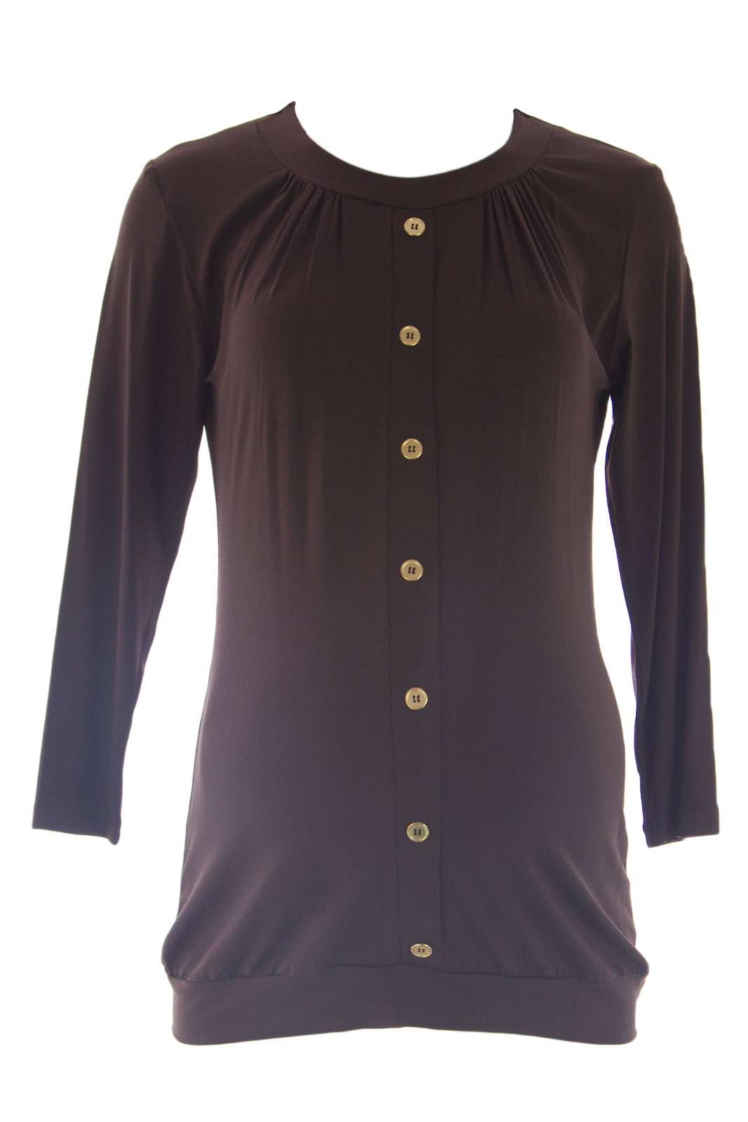 OLIAN Maternity Women's Metal Buttons Front Accent Tunic Top Medium Brown