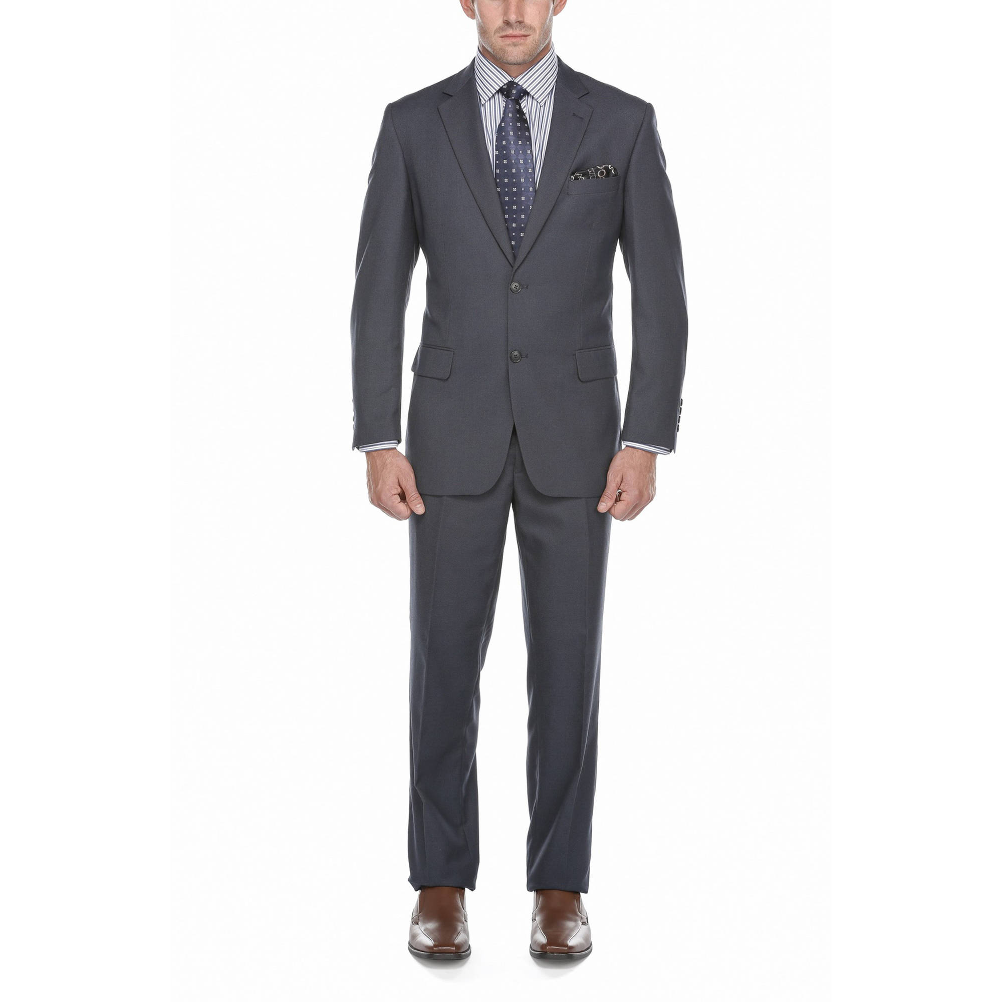 Verno Big Men's Steel Blue Birdseye Textured Classic Fit Italian Styled Two Piece Suit
