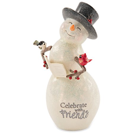 Christmas Snowman Figurine (Pavilion - Celebrate with Friends Snowman Figurine with Birds Winter Christmas)